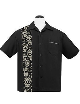 Dia De Los Muertos Mens Button Up Shirt in Black