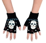 Sugar Skull Board Fingerless Gloves