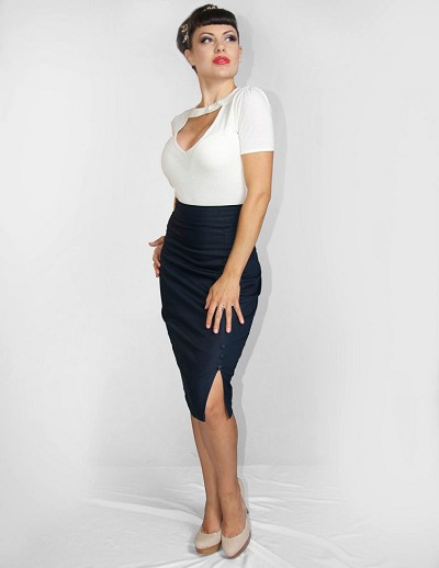 Steady Stretch Denim Indigo Wiggle Skirt