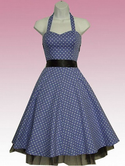H&R London Blue Small Polka Dot Retro Swing Dress