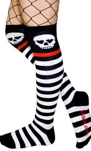Skully Stripe Over the Knee Socks