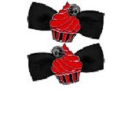 Cupcake Bow Red Barrette