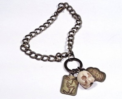 Los Muertos Bronze Day of the Dead Charm Bracelet