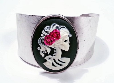 Lolita Silver Skeleton Cuff Bracelet Pink Rose on White