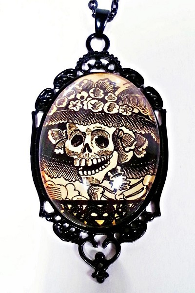 Catrina Day of the Dead Cameo Necklace