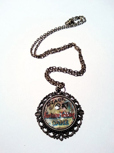 Black Cat Vintage Fortune Telling Game Necklace