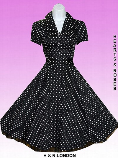 H&R London Black and White Polka Dot Vintage Style Swing Dress