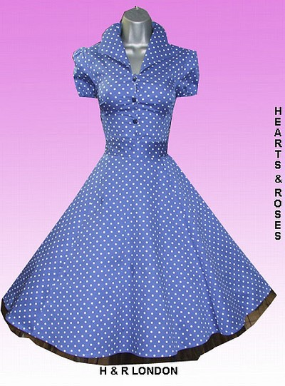 H&R London Blue Polka Dot Vintage Style Swing Dress