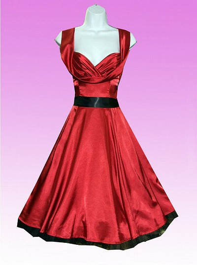 H&R London Red Satin 50's Dress