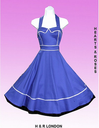 H&R London Blue with White Piping Retro Swing Dress
