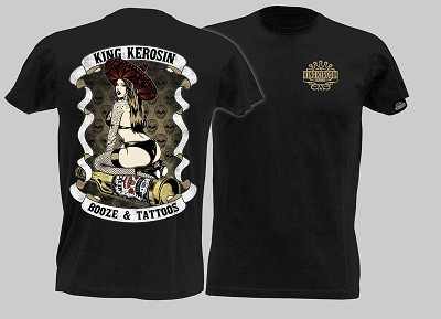 King Kerosin Booze and Tattoos Mens Tshirt