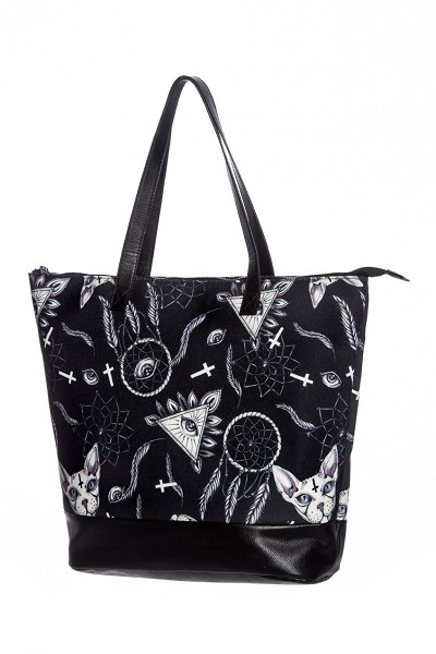 Hell Bunny Arcane Kitty Large Shoulder Tote Bag
