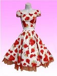Red Rose Cap Sleeve 50's Dress