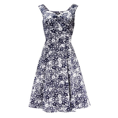H&R London Black and White Floral 50's Dress