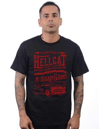 Steady Hell Cat Mens Black Tshirt