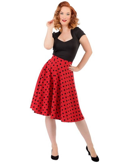 6e660daa76ed High Waist Thrills Red Polka Dot Swing Skirt