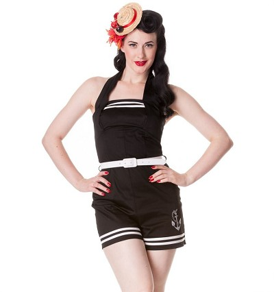 Hell Bunny Anchored Black Playsuit Romper