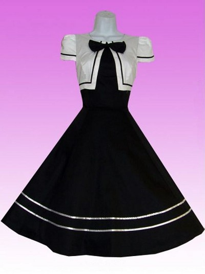 H&R London Black and White Bow 50's Dress
