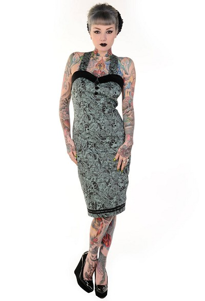 Skulls On Green Pencil Dres