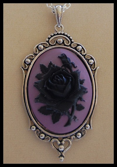 Black Rose on Lavender Cameo Necklace