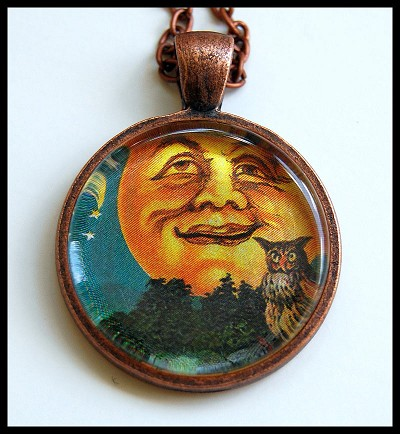 Vintage Moon Face Necklace
