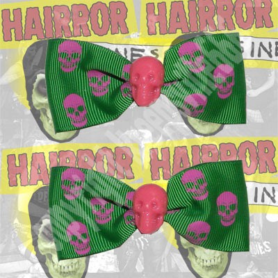 Kreepsville Pink & Green Skull Hair Bow