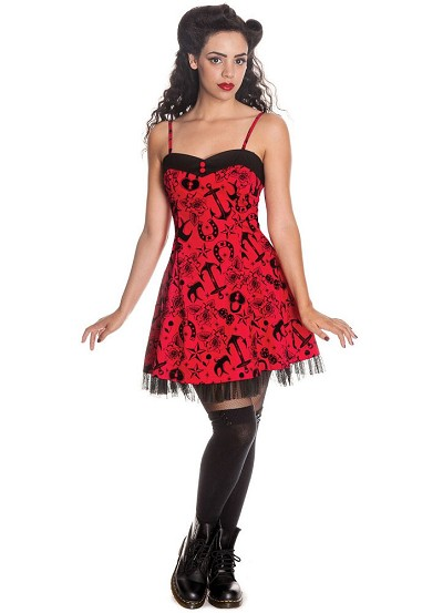 Hell Bunny Liv Rockabilly Tattoo Print Mini Dress