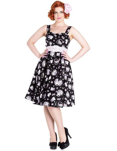 Hell Bunny Black Amelia Cat Print 50's Dress