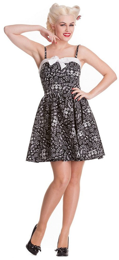 Hell Bunny Black Bandana Skull Mini Dress