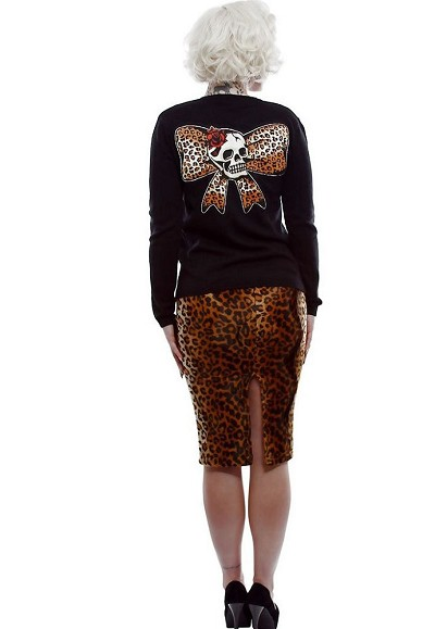 Lucky 13 Leopard Bow Skull Womens Cardigan