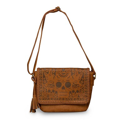 Loungefly Brown Faux Leather Skull Birds Crossbody