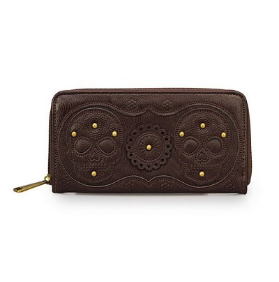 Loungefly Brown Double Flower Skull Applique Wallet