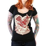 Lucky 13 Love Struck Womens Vneck  Tshirt