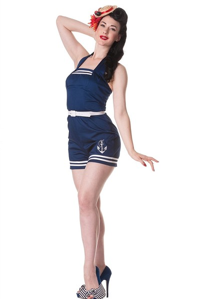 Hell Bunny Anchored Navy Playsuit Romper