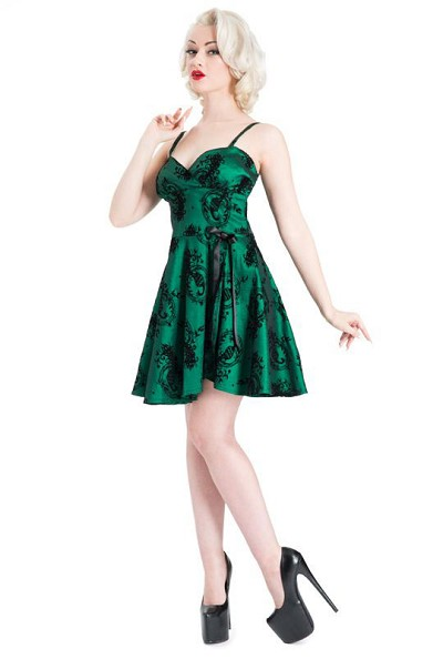 Voodoo Vixen Sally Peacock Flocked Dress