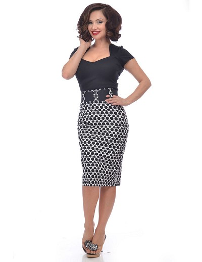 Go Go Black Polka Heart Wiggle Skirt