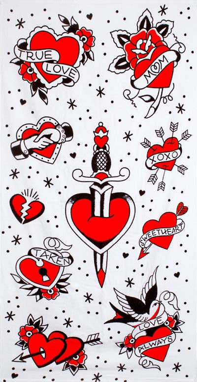Tattooed Hearts Beach Towel
