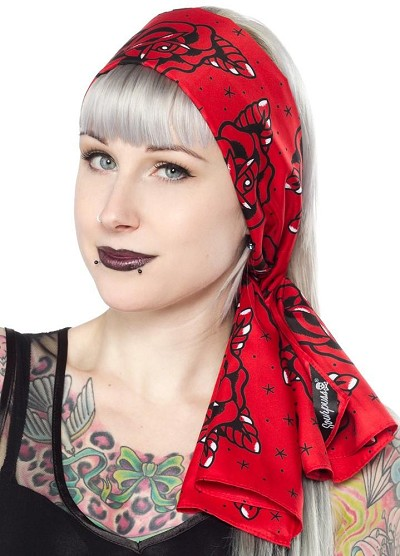 Bad Girl Roses Red Retro Scarf