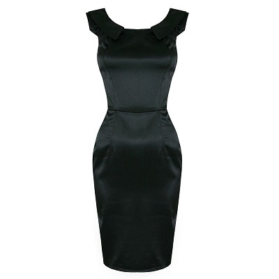 H & R London Black Satin Pencil Dress