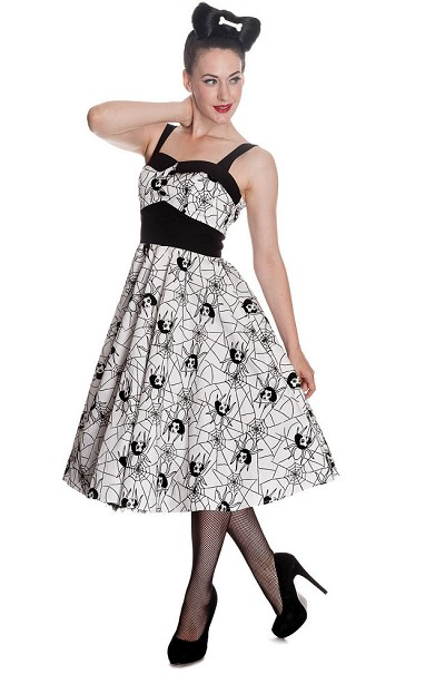 Hell Bunny Black Widow Dress (White)