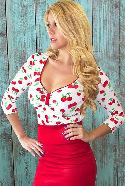 White Cherry Bomb Logo Sweetheart Top