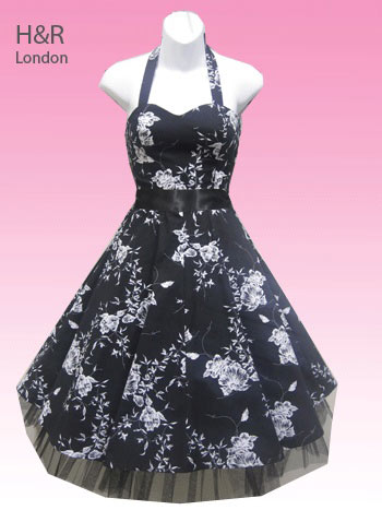 H&R London Black and White Floral Retro Swing Dress