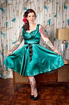 H&R London Green Satin 50's Dress