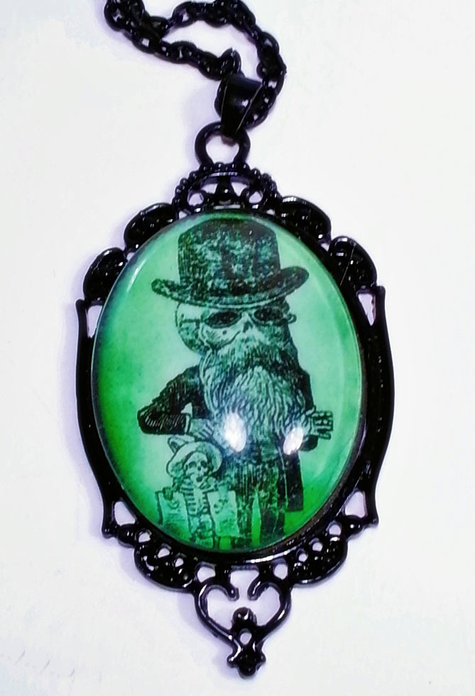 Bearded Skeleton Day of the Dead Cameo Necklace