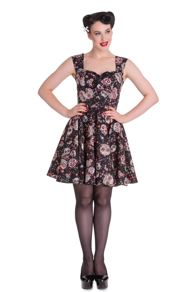 Hell Bunny Idaho Black Sugar Skull Mini Dress