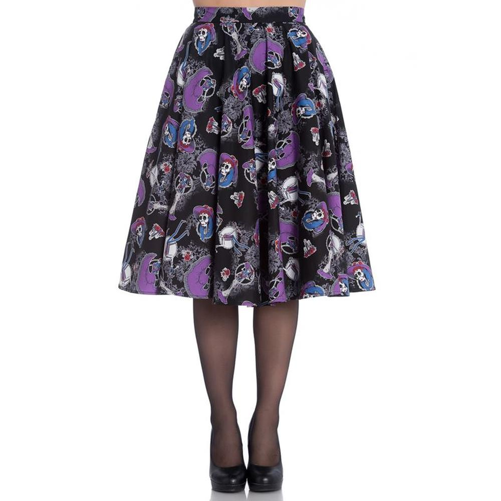 Hell Bunny Graciela Purple & Black Skeleton 50's Skirt