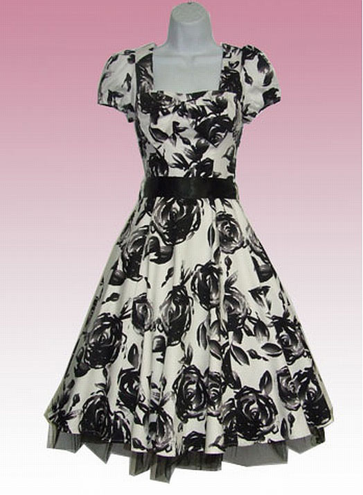 Black Floral Painted on White 50's Swing Dress