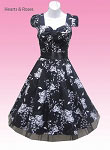 Black White Floral 50s Swing Dress