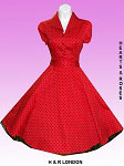 H&R London Red Polka Dot Vintage Style Swing Dress