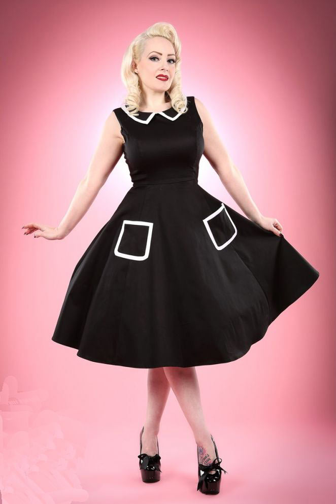 Black and White Piping Emily Dress